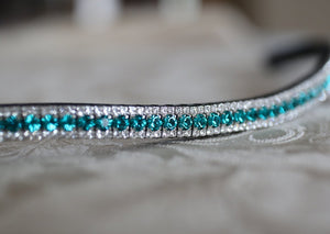 Blue zircon and clear browband