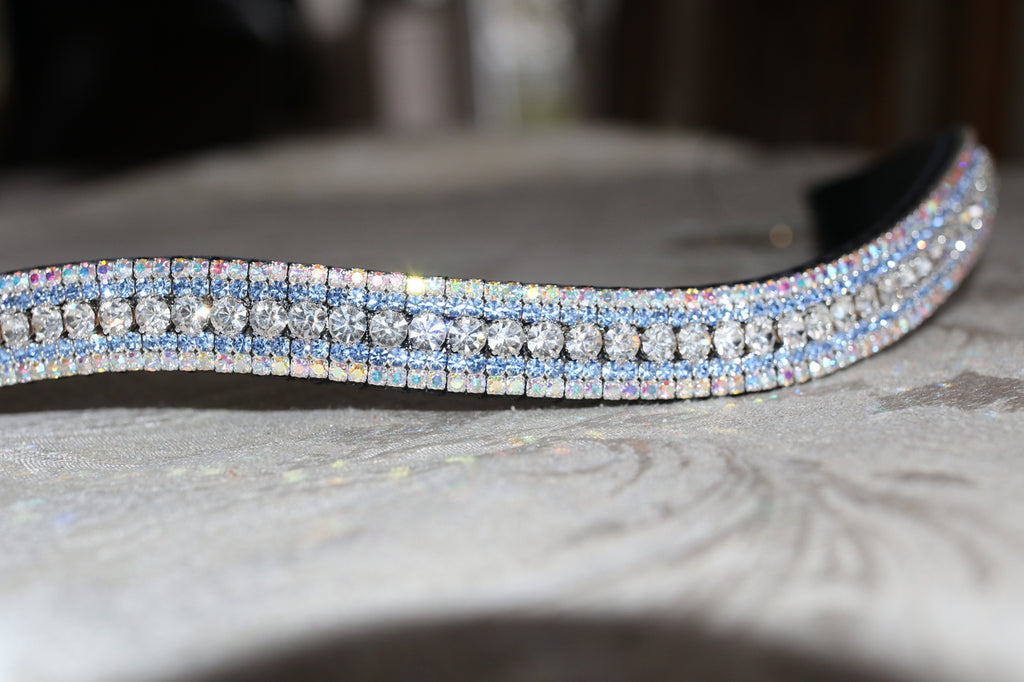 Swarovski tiffany clear crystal, aqua and iridescent megabling curve browband