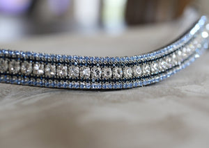 Clear, montana and light sapphire megabling curve browband