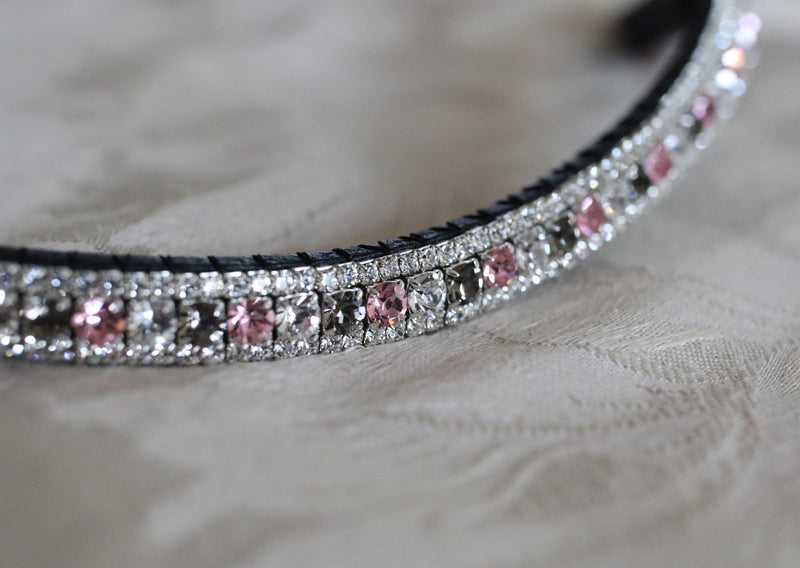 alternating light rose, clear and black diamond