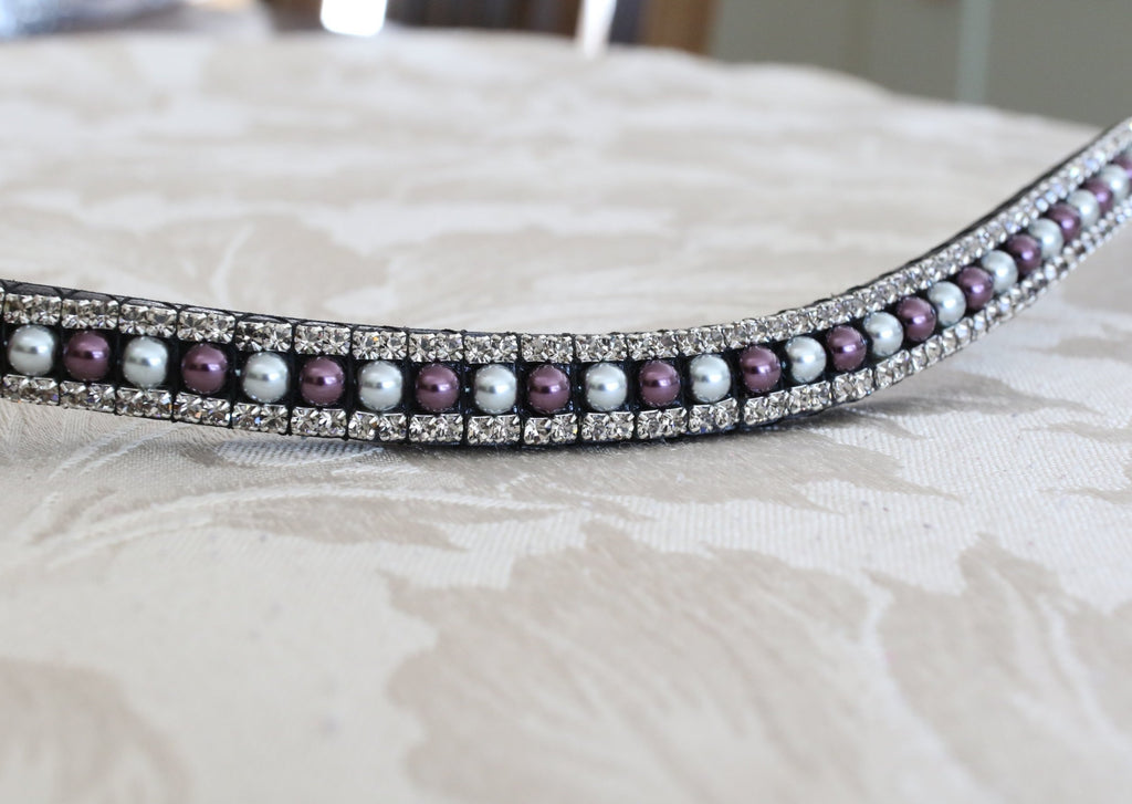 aubergine and silver pearl crystal browband