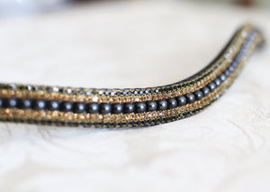 Jet Pearl and smoke topaz megabling curve browband