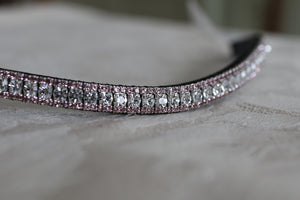 Clear and light amethyst crystal browband
