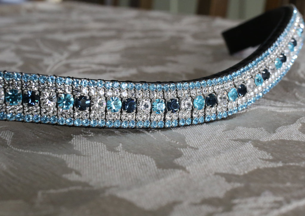 Custom alternating 3 colour megabling curve browband