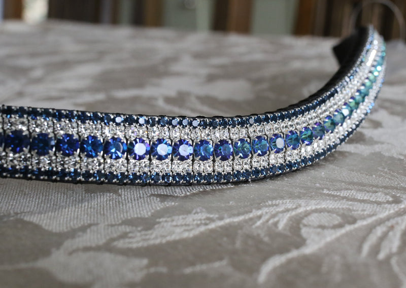 Bermuda blue, clear and montana megabling curve browband
