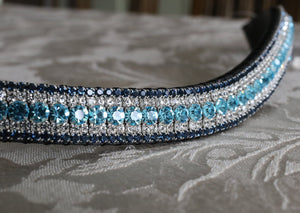 Aqua, clear and montana megabling curve browband