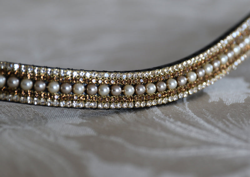 Cream/mocha pearl, smoke topaz and honey megabling curve browband