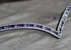 Alternating violet, purple velvet and tanzanite browband