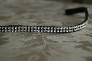 BR stellux clear crystal two row curve browband