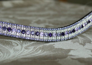 Alternating violet, tanzanite and purple velvet megabling curve browband