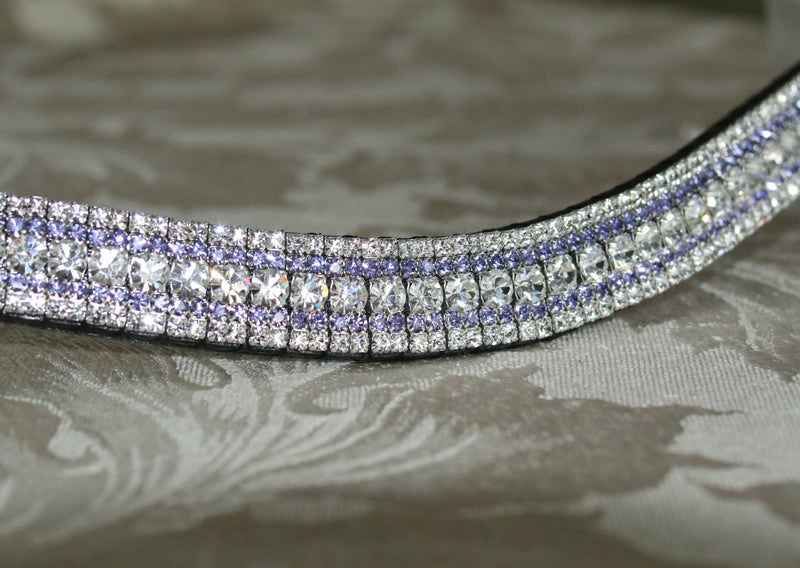 Clear and tanzanite megabling curve browband