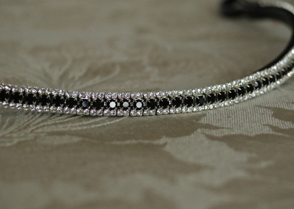 Jet and clear antique look elegante curve browband