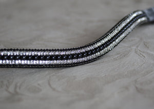 Jet pearl, clear and jet megabling curve browband