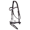 Black rolled and shaped plain leather snaffle bridle *without browband*