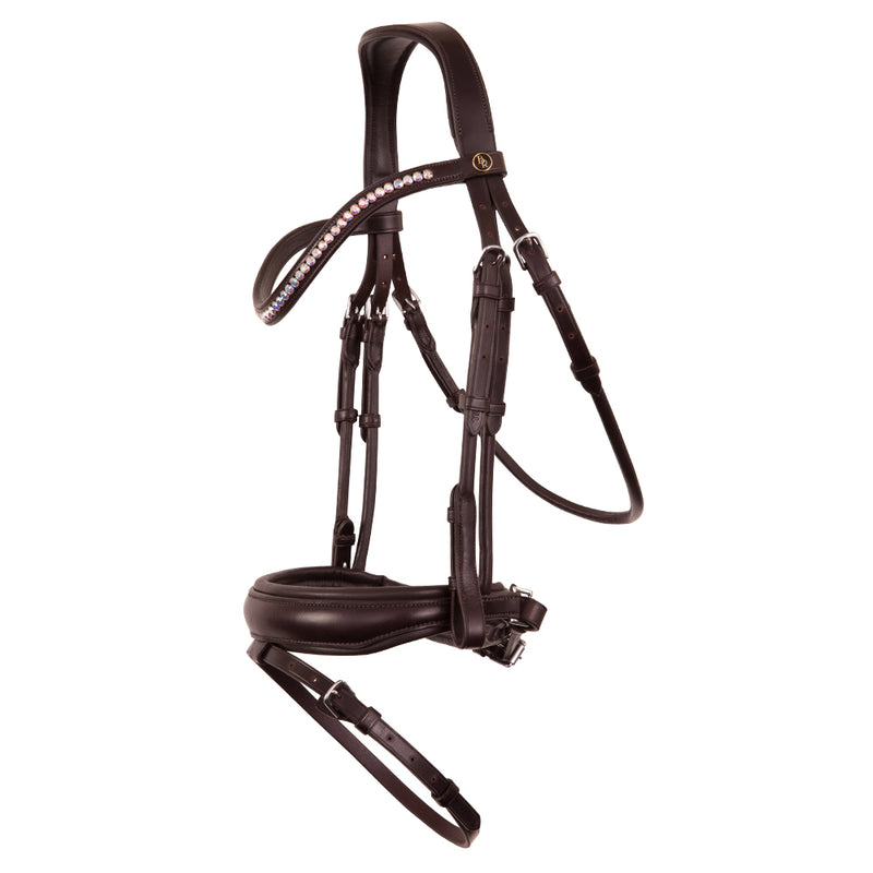 Brown rolled and shaped plain leather snaffle bridle *without browband*