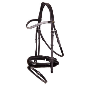 Patent flat leather shaped snaffle bridle *browband not included*