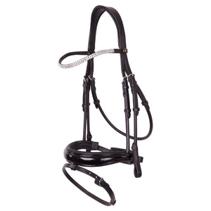 Black patent, rolled with shaped noseband snaffle bridle with Swarovski browband