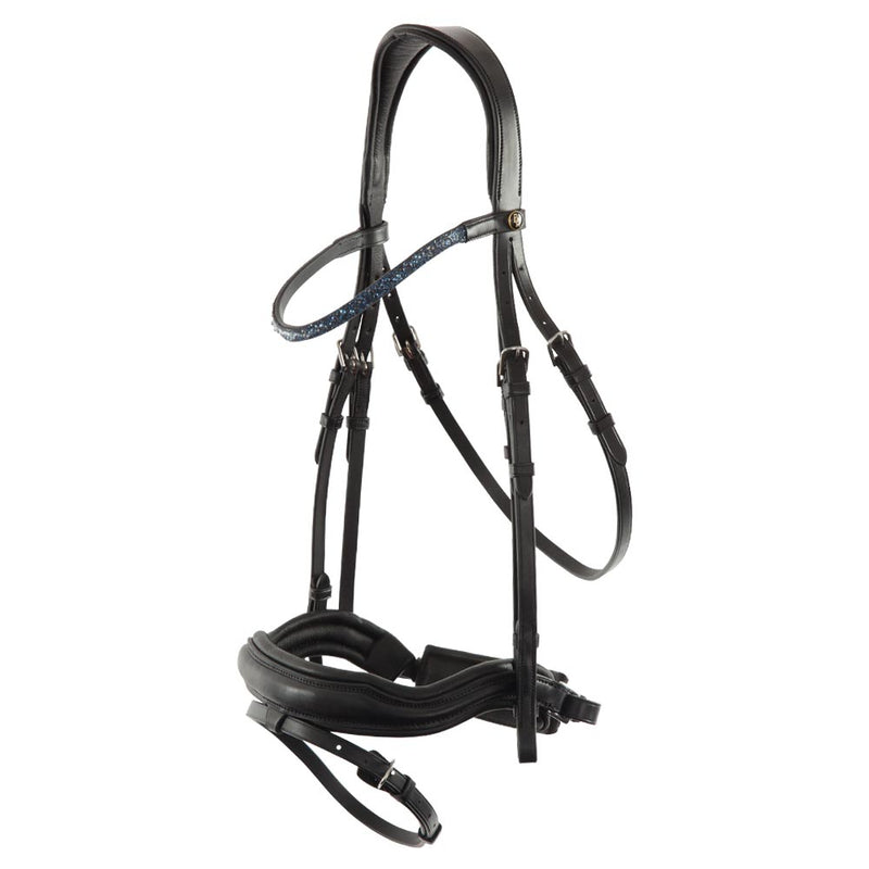 Freedom black shaped plain leather snaffle bridle