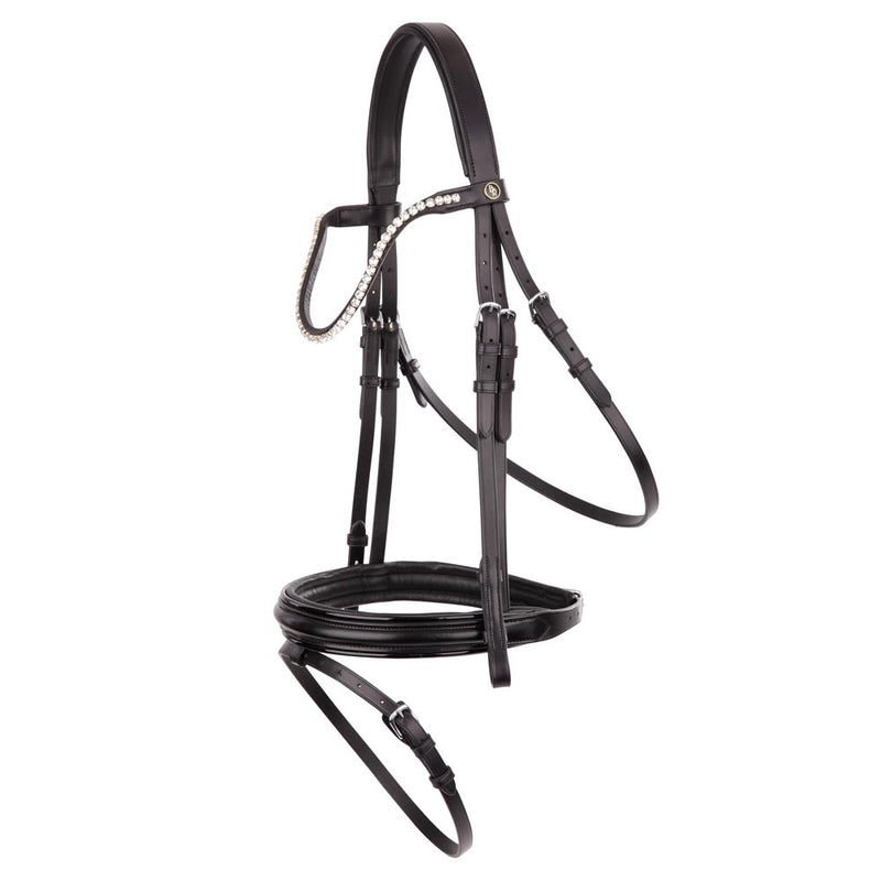 Black flat leather snaffle bridle with patent piping *browband not included*