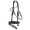 Black rolled plain leather cavesson snaffle bridle *browband not included*