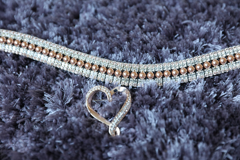 Rose gold pearl, clear and light peach megabling curve browband