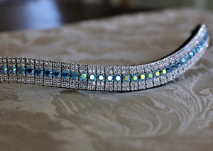 Capri blue ab and clear megabling curve browband