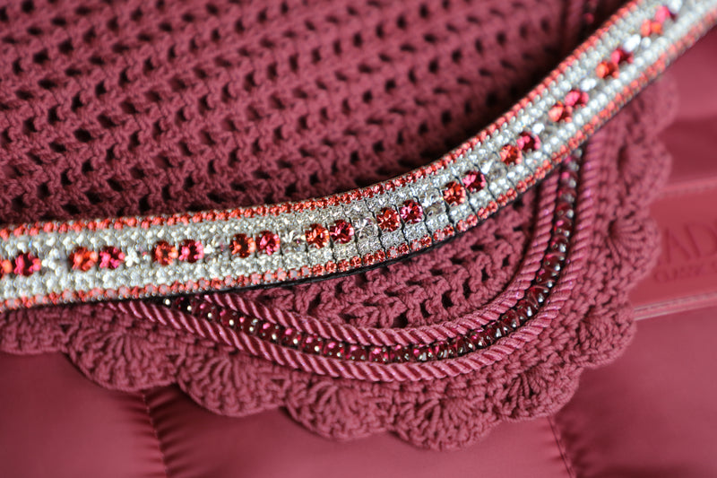 Alternating rose, indian pink and clear megabling curve browband