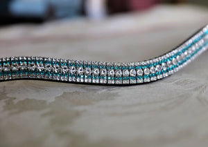 Clear, blue zircon and clear curve megabling browband