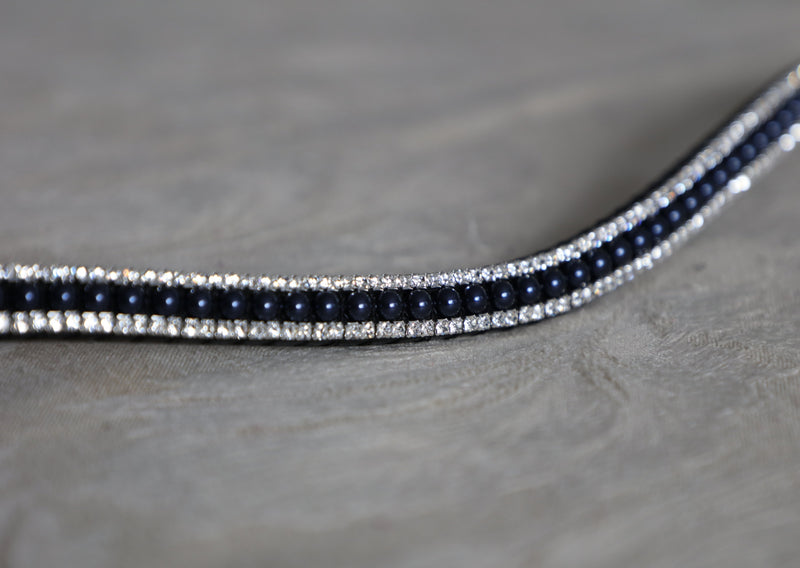 Navy pearl and clear browband