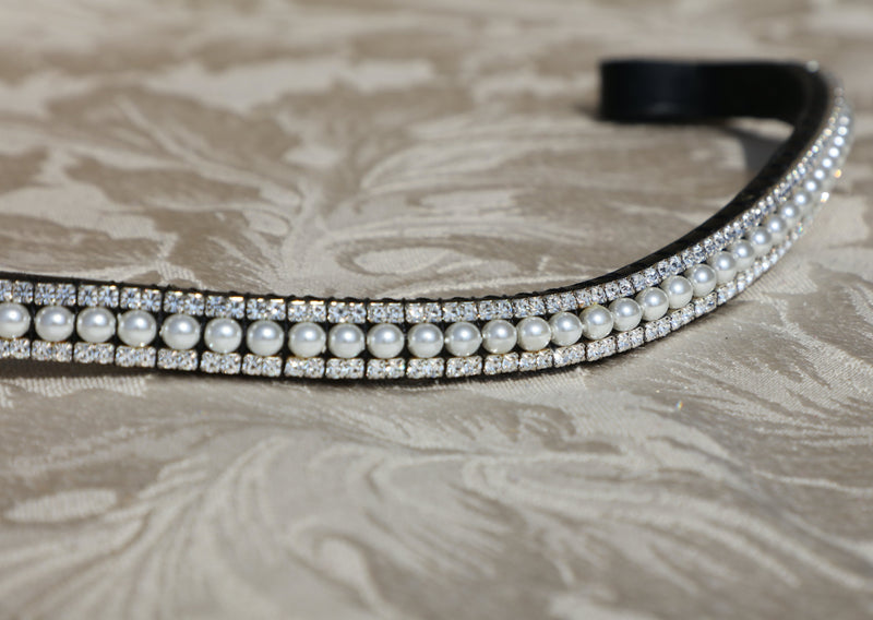 Pearl and clear crystal browband