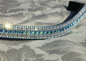 Capri blue ab, clear and sapphire ab megabling curve browband
