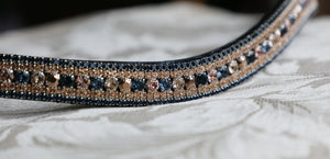 Swarovski Tiffany navy rose gold megabling curve browband