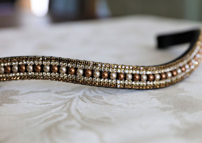 Cream/antique gold pearl, honey and smoke topaz megabling curve browband