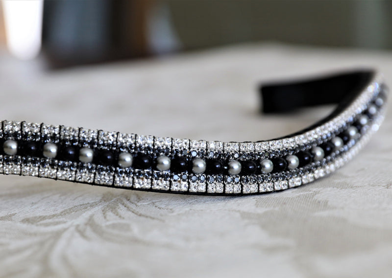 Jet and silver pearl with jet and clear crystal megabling curve browband