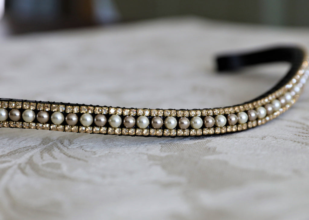 Cream and mocha pearl and golden honey equiture browband