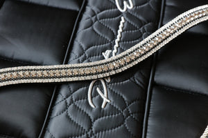Velvet, jet and clear megabling curve browband