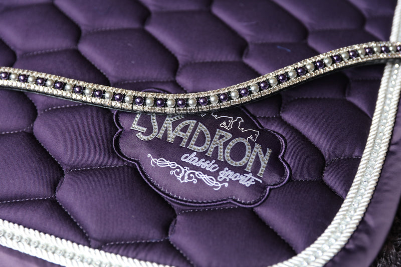 Purple and silver pearls alternating browband
