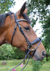 Black patent, rolled and shaped leather snaffle bridle *without browband*