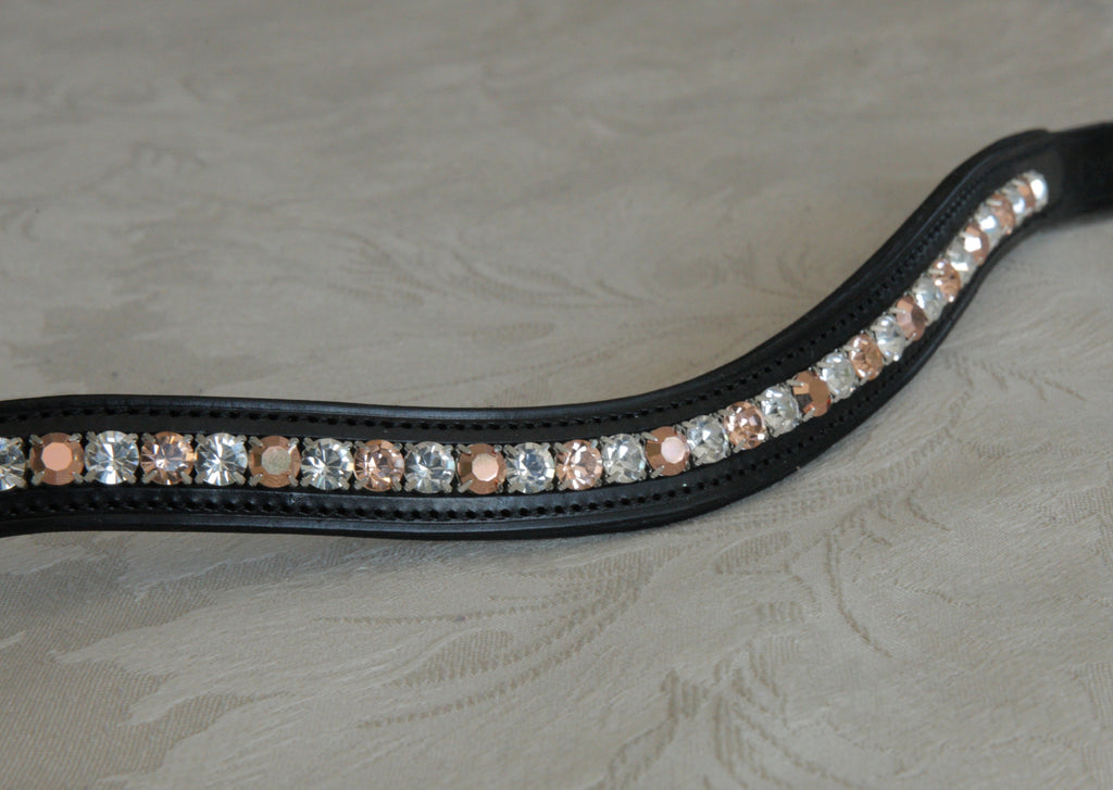 Swarovski alternating capri gold, light peach and clear inset curve browband