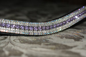 Violet, clear and iridescent curve megabling browband