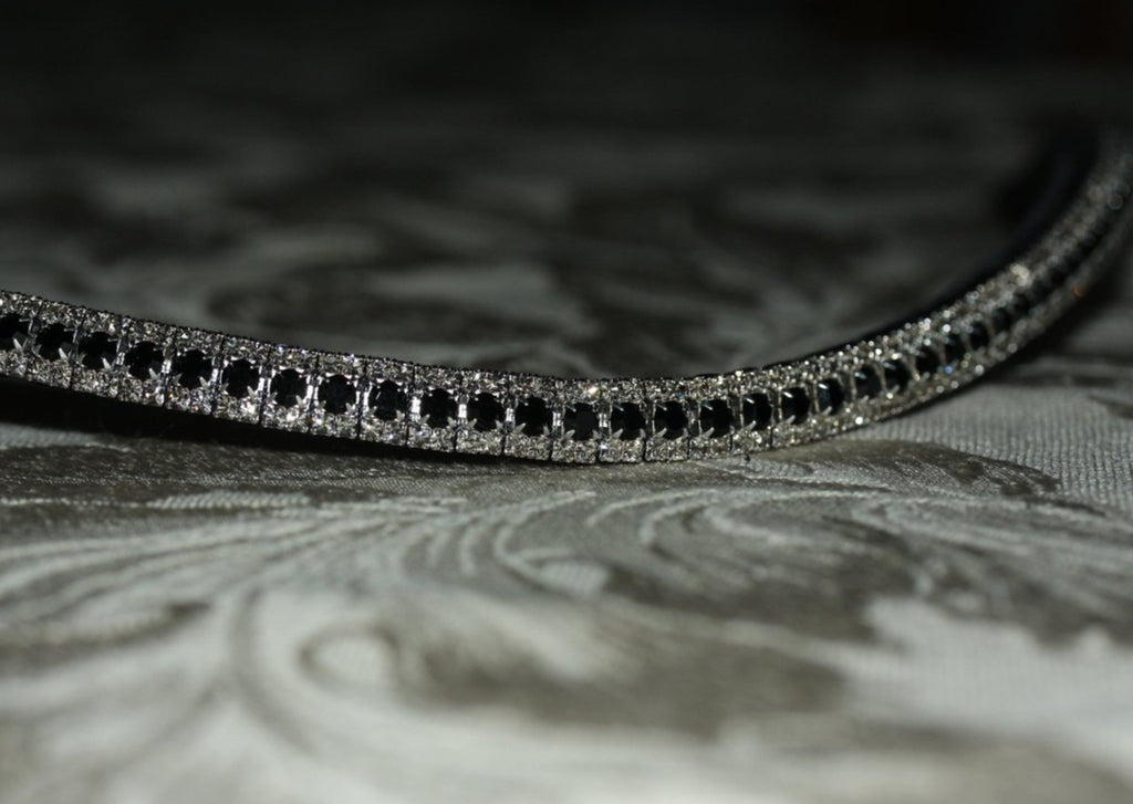 Jet and black diamond antique elegante browband