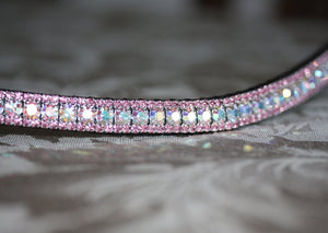 Iridescent and light rose browband