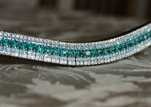 Blue zircon, aquamarine and clear megabling curve browband