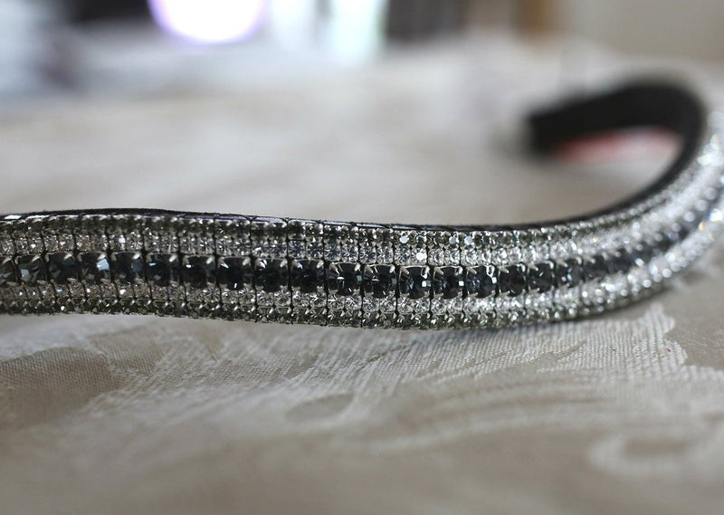 Nightfall, clear and black diamond megabling curve browband