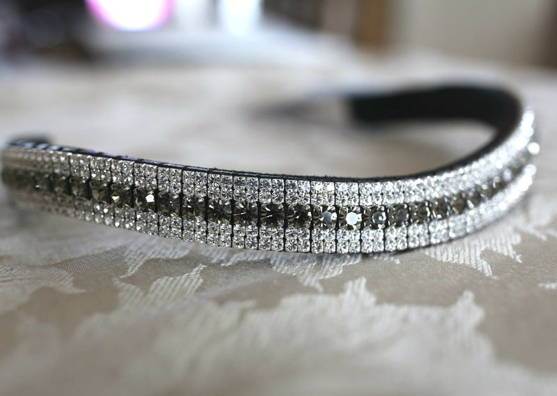 Black diamond and double clear megabling curve browband