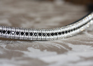 Jet, clear and black diamond antique browband