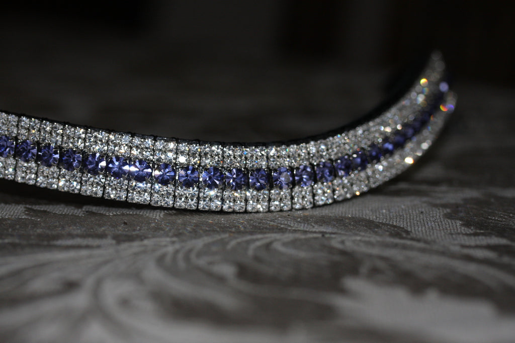 Tanzanite and clear megabling curve browband