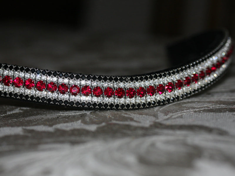 Ruby, clear and jet megabling curve browband