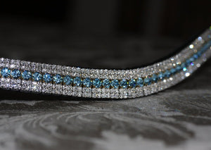 Aquamarine and clear crystal megabling curve browband