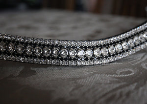 Swarovski tiffany clear crystal and jet megabling curve browband